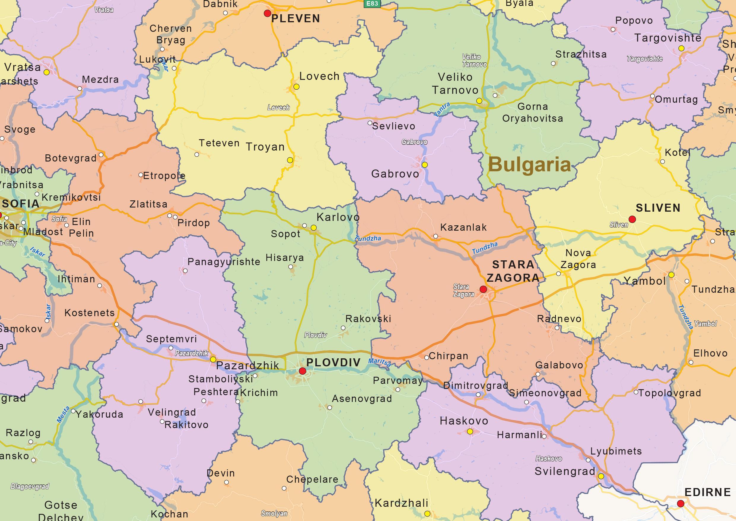 Blgariya Na Politicheskata Karta Karta Na Blgariya Politicheski