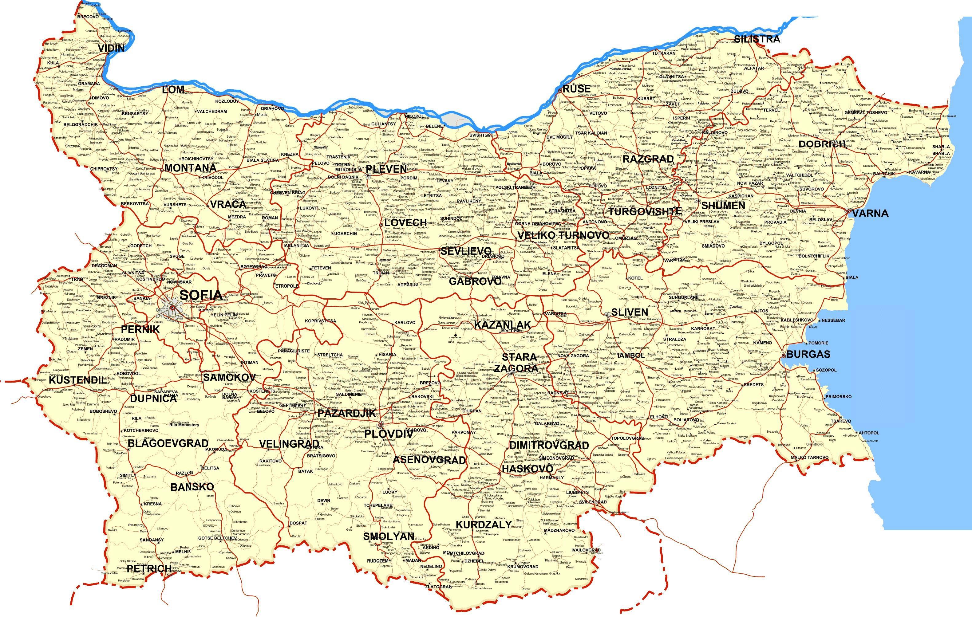 Karta Blgariya Karta Na Blgariya Strani Iztochna Evropa Evropa
